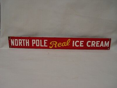 "North Pole Real Ice Cream Porcelain Advertising Strip Sign 13"" Long Dairy Ad"