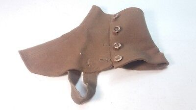 WW1 BRITISH ARMY BOOT FIELD BROWN WOOL SPATS (1 Left Foot Only)