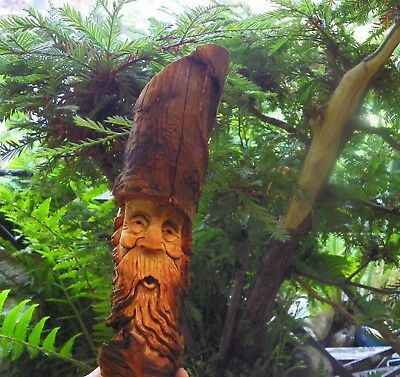 Wood spirit carving elf western wizard folk art gnome dwarf ooak by Gary