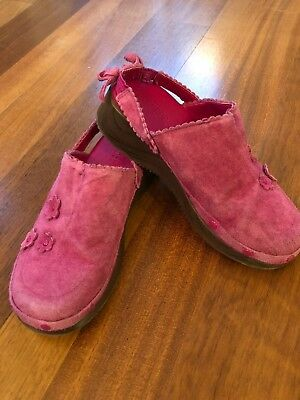 Gymboree Pretty In Plum Fall Pink Suede Mules Clogs Shoes size 13