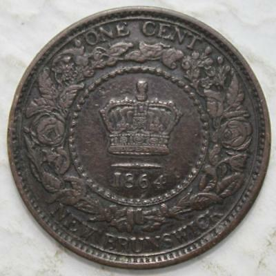 New Brunswick 1864 Large Cent, Short 6 Variety, Nice Grade, Queen Victoria