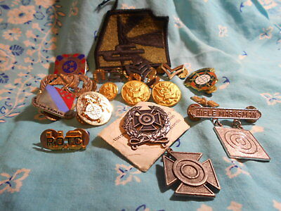 Nice Vintage Lot Of Military Buttons, Badges, And A Patch-For The Collector-PIX