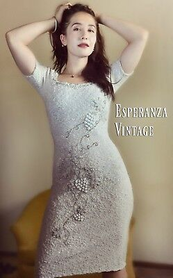 Knockout 60's Vintage Beaded Knit Dress Masterpieces Limited Hong Kong Stunning