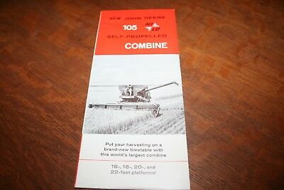 John Deere New 105 Hi-Lo Self-Propelled Combine Brochure 16,18,20,22 Foot 1960