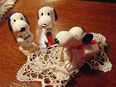 SNOOPY & PEANUTS VINTAGE Set Of 3 CHRISTMAS ORNAMENTS, 1966,United Features