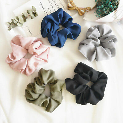 Fashion Pure Color Hair Scrunchie Ring Elastic Rope Seamless Stretch Headdress