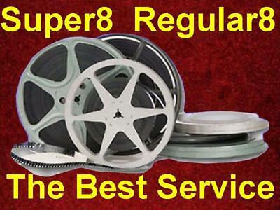 """400 ft or 7""""dia Super8 Regular8 8mm Film to MP4 Files or DVD Transfer Convert HD"""