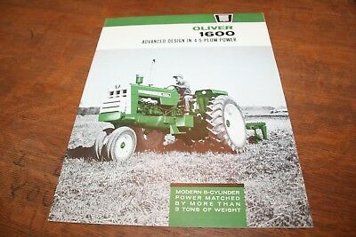 Oliver 1600 Tractor Brochure Row Crop Utility Ricefield Wheatland 4-5 Plow 1963!
