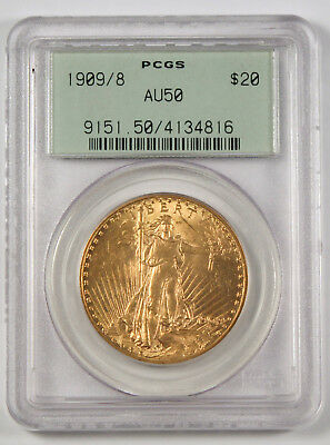 USA 1909/8 Saint Gaudens $20 Gold Coin PCGS AU50 Green Holder Over date Scarce