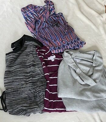 A Pea In The Pod Maternity 4 Piece Lot Fall Blouse Knit Top Sweater Tunic Size L
