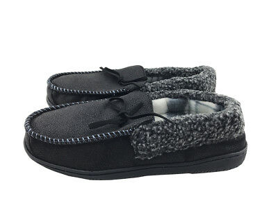 67f0ec6f56d96c Mens Suede Shearling Moccasin Slippers Moc Toe Slip On Shoes Size 10 Black