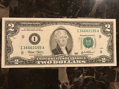 US $2 Dollar Bill with Fancy Triple 666 Serial Number Devil Mark of the Beast