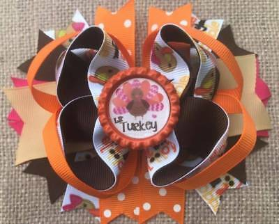 Thanksgiving Lil' Turkey Brown Orange Bottle Cap Hair Bow * 5""