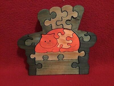 """Handcrafted Standing Wood Puzzle """"Orange Cat in a Green Chair"""" 13 pc."""