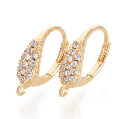 20pcs Brass Pave Cubic Zirconia Leverback Earwire Dangle Loop Gold Plated 16.5mm