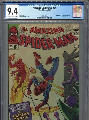1965 Marvel The Amazing Spider-Man #21 Human Torch & Beetle Cgc 9.4 Ow-White