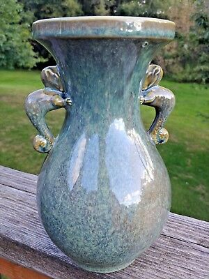 Vtg Brush McCoy Pottery USA 223 Green Serpent Sea Monkey Handled Vase 9""