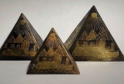 Vintage Egyptian Mixed Metal Pyramids  Etched Brass Copper Bronze Ancient Egypt