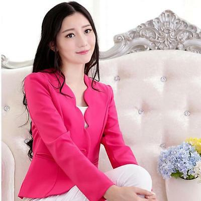 Women Fashion Candy Color Casual Slim Solid Suit Blazer Jacket Coat Outwear BS