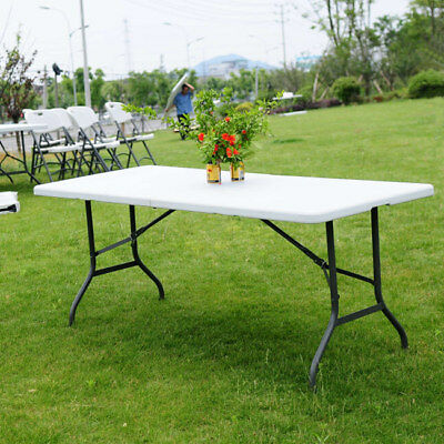 6' Folding Portable Centerfold Folding Table Indoor Outdoor Camp Party Picnic