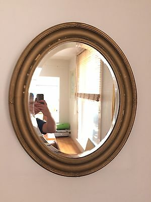 Large Vintage Mid Century Oval Mirror With Bevelled Edge Shabby Chic Charm