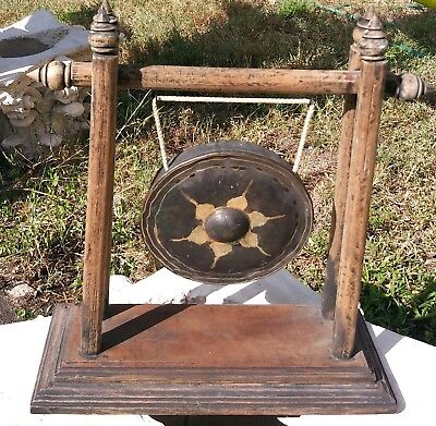 Old Chinese Asian Gong w wood mount patina metal engrave design gong Home Alter