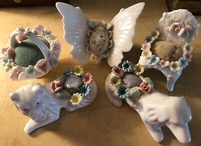 Vintage Set Of Ardalt Fine Quality Lenwile China Verithin Pin Cushions Figurines