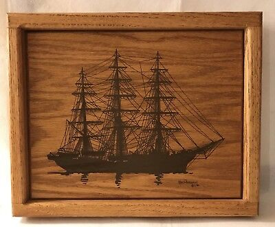 """Vintage Ken Daddario Ship Wood Wall Art signed and dated 1980 Measures 10.5""""x13"""""""