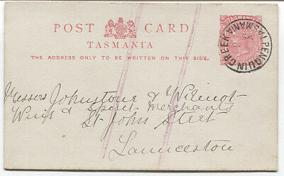 TASMANIA  1899: commercially used 1d QV postal card mailed from PENGUIN CREEK