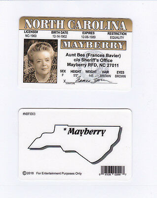 Aunt Bee Bea Frances Bavier the Andy Griffith show fake id card Drivers License