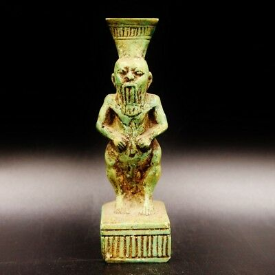 Rare Antique Egyptian Faience God Bes Amulet Figurine