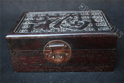 "7.6"" Old China Huanghuali wood hand-carved longevity""夀""Storage Jewellery Boxes"