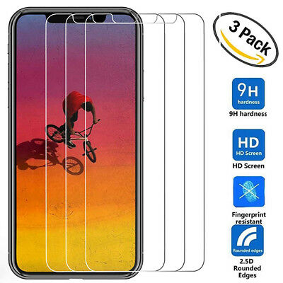 3Pack 9H Tempered Glass Film for iPhone Xs Max/Xr/X 8 HD Screen Protector Guard