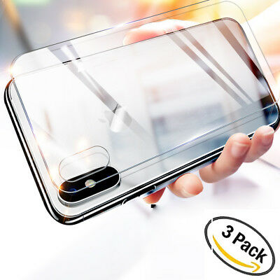 3Pack 9H HD Tempered Glass Rear Screen Protector Film for iPhone XS Max/XR/X 7 8