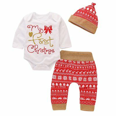 Christmas Newborn Baby Boy Girls Outfits Clothes Romper Tops + Legging Pants Hat