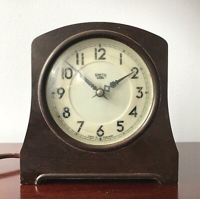 Smiths Clock Sectric Bakelite English Alarm Mantel Clock Art Deco