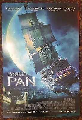 PAN Orig Movie Poster 27 x 40 DS 2-Sided Adv Version Hugh Jackman Rooney Mara