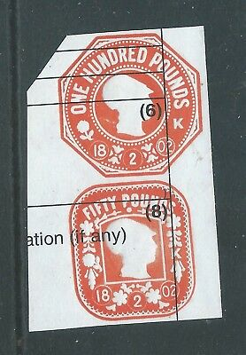 Fiscal/Revenues Stamps £100 and £50 Embossed General Duty Minerva Head r2070c