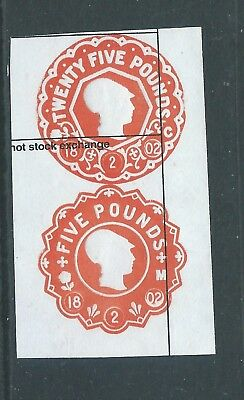 Fiscal/Revenues Stamps £25 and £5 Embossed General Duty Minerva Head r2071c