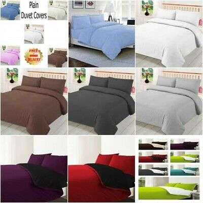 Plain 3Pc Reversible Duvet Cover with Pillowcase and Fitted Sheet Bedding Set