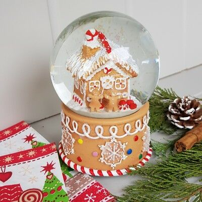 Gisela Graham Nordic Christmas large musical gingerbread cottage snow globe