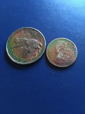1967 Canadian Silver, Lot of 2 Coins, Colorful Toning, No Reserve!