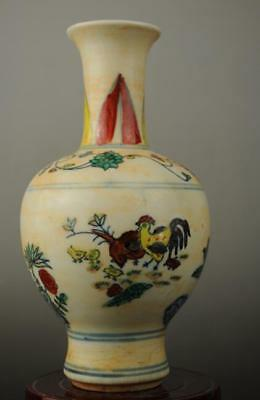 Chinese antique famille rose porcelain chicken pattern vase /chenghua mark b02
