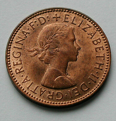 1967 UK (British) Queen Elizabeth II Coin - Half Penny (1/2d) - red/brown