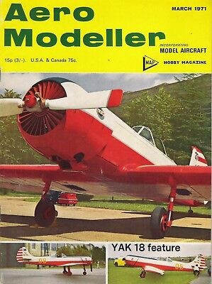 Aero Modeller Magazine. Volume XXXVI, No. 422, March, 1971. YAK 18 PM & PS.