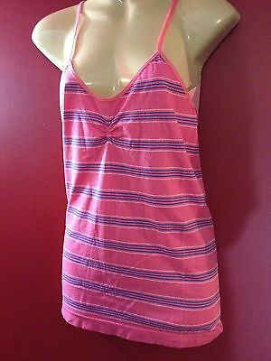 HONEYDEW Women's Pink Striped Nylon Camisole - Size Large - NWT