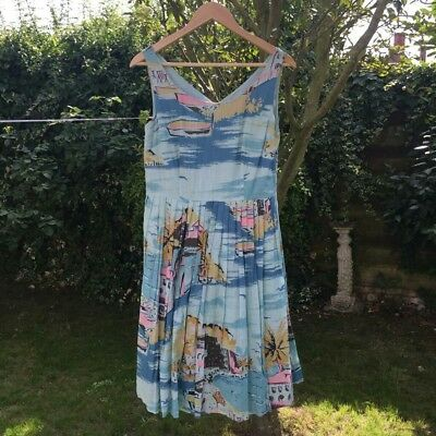 Boden Sun Dress - size 12R - very good condition. Stunning Mediterranean print.