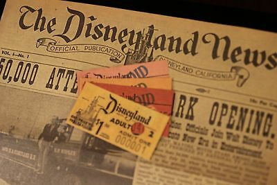 Disneyland News Authorized Walt Disney cover four Attraction Tickets 1955 / 2003