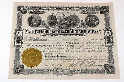 National Gold And Silver Mining Co. Vintage Stock Certificate - New Mexico Mine