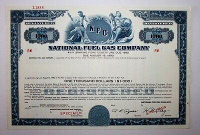 NATIONAL FUEL GAS COMPANY - New York - Specimen Debenture
